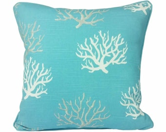 Coastal Blue Coral Cushion Cover with Piping