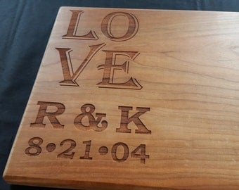 "Personalized Engraved Cutting Board - 10""x16"" Solid Wood"