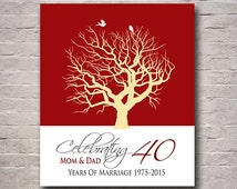 Ruby Wedding Gift For Parents : 40th Ruby Wedding Anniversary Tree Gift Personalized Anniversary Gift ...