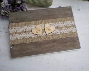 Wooden guestbook or photo album with hearts -shabby chic wedding-burlap and lace guest book