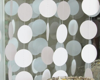 White Paper Garland - Circle Garland - White Wedding Decor - White Party Decoration