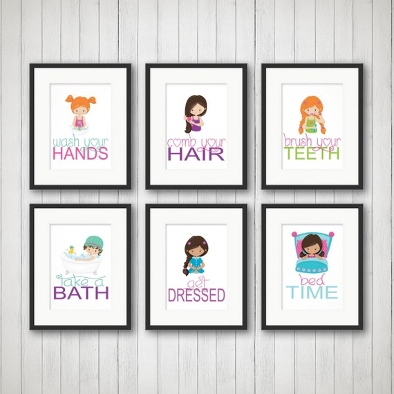 Items similar to girls bathroom girls bathroom decor for Bathroom decor rules