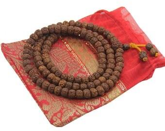 Hindu Natural Rudraksha Mala Rosary 108 Beads Free Pouch
