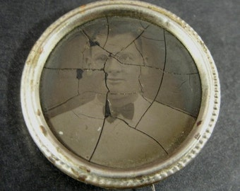 Antique Victorian Mourning Pin Tintype Portrait Of Man Wearing Glasses and Bow Tie