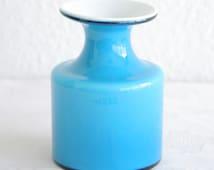 Vintage Kastrup Holmegaard CARNABY Blue Cased Glass Vase PER LUTKEN Danish Design Modern Denmark Artglass Handmade 1960s Mid Century Modern