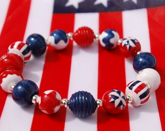 Red White and Blue Patriotic Stars and Stripes Women's Bracelet of Handmade Polymer Clay Beads for Fourth of July
