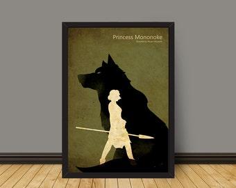 Minimalist  Vintage Anime Poster - Princess Mononoke