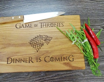 GAME of THRONES cutting board. Dinner is Coming. House Stark.  Lazer Engraved Cutting Board. Got. Gift for him, Dad, groomsmen