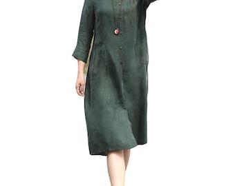 Elegant green cupro long dress