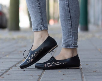 Black Leather Shoes, Leather Flats, Black Cutout leather Shoes, Summer Shoes , Free Shipping