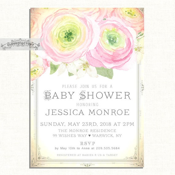 shabby chic baby shower invitations for a girl baby shower brunch