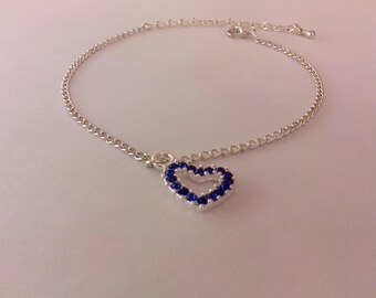 Exquisite Ankle Bracelet with a heart shaped feature with clear or pink coloured rhinestones