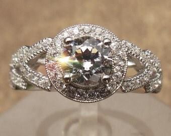 Solid 14K White Gold 5.5MM Round Semi Mount Ring / Engagement & Wedding Ring / Diamond Ring