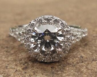 Engagement Ring / 14K White Gold Ring / Fashion Ring / Semi Mount Ring