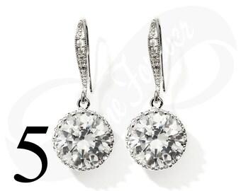 Set of 5 Earrings for Bridesmaid Cubic Zirconia Dangle Earring Set Wedding Silver Tone
