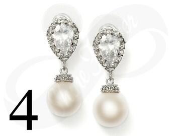 Set of 4 Bridesmaid Earrings Bridal Jewelry Bridesmaid Jewlery Pearl Earrings Bridal Jewlery Pearl Bridal Jewelry Bridesmaid Gift Jewelry