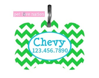 Personalized Pet Tag, Dog Tag, ID Tag, Green Chevron Pet Tag With Blue Name And Phone Number