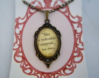 Jane Austen, Pride and Prejudice, vintage, bronze, quote necklace