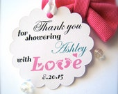 Custom baby shower favor tags, tags for baby shower favors, thank you tags, favor labels, baby feet tags, scalloped tags - 30 count