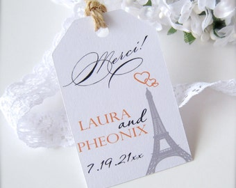 Wedding favor tags, engagement thank you tags, wedding shower tags, bridal shower favor tags, Paris wedding decor - set of 30