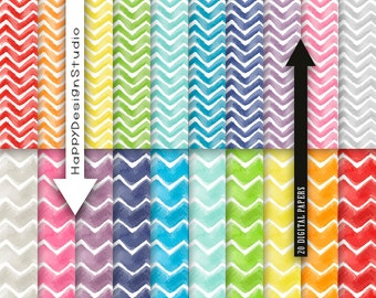Chevron rainbow watercolor digital paper pack scrapbooking party papers printable card design baby shower bright colors watercolor