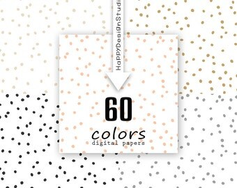 60 colors dot confetti digital paper scattered dots hand drawn dotted pattern background scrapbooking baby party invitation snow snawball