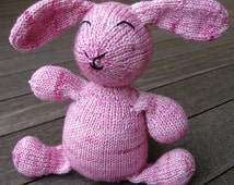 Hand Knit Luxury Yarn Stuffed Toy Bunny in Colorway Petal Pink