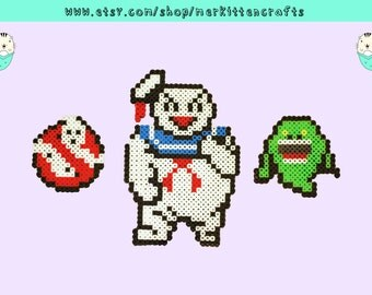 Ghostbusters Perler Necklaces/Magnets/Keychains! Logo - Stay Puft Marshmallow Man - Ghost