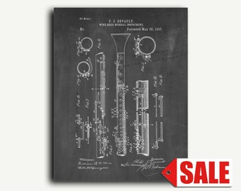 Patent Poster - Clarinet Patent Wall Art Print Poster