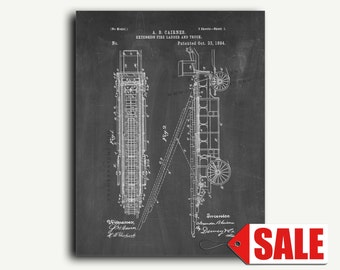 Patent Art Print - Extension Fire-ladder And Truck Patent Wall Art Print Poster