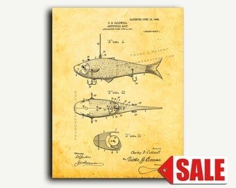 Patent Print - Fishing Artificial Bait Patent Wall Art Poster Print