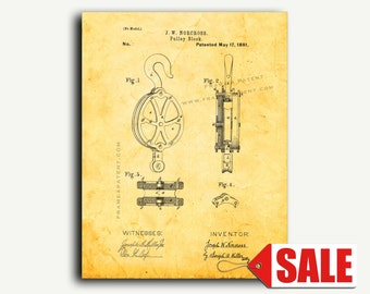 Patent Print - Pulley Block Patent Wall Art Poster