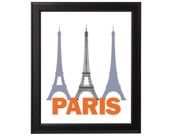 Wall Art Print Paris France Instant Download Printable, Paris Print, orange gray black city print country print, city art PDF JPG eiffel