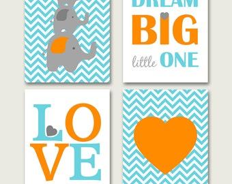 Elephant nursery PRINTABLE, grey orange turquoise nursery decor, elephant print, childrens room art, aqua orange nursery art