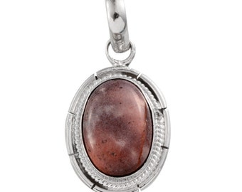 Mexican Porcelain Jasper Oval Pendant without Chain in Silver-tone TGW 5.60 cts.