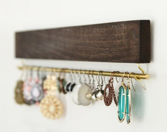 brown wood earring display / organizer