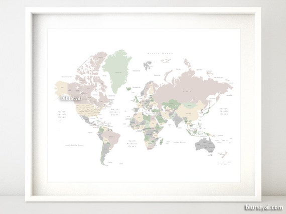20x16 Printable World Map With Countries Names Us States Pastels World Map Muted Colors Gender Neutral Nursery Wall Art Map140 062