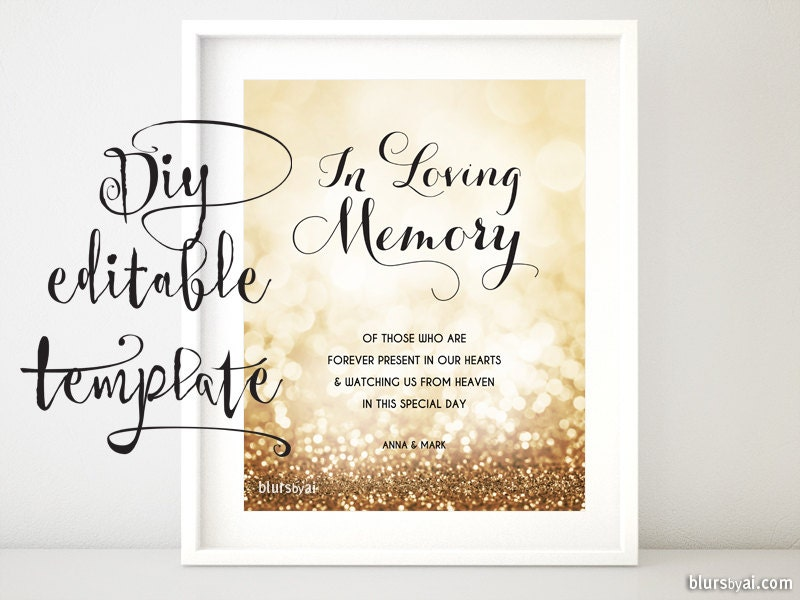 Printable Memorial Sign TEMPLATE Diy Wedding