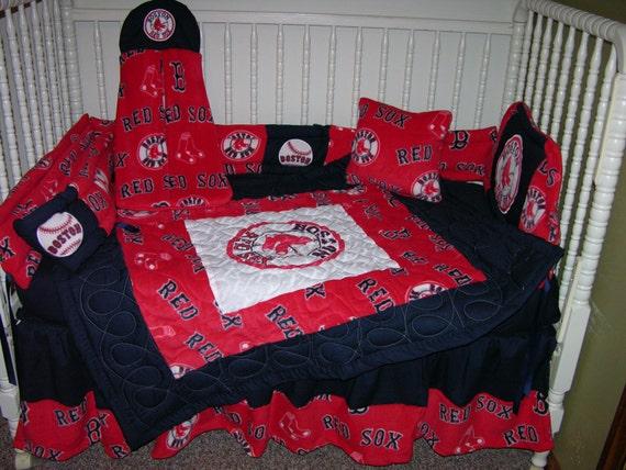 New Crib Nursery Bedding M/w Boston Red Sox Fabric