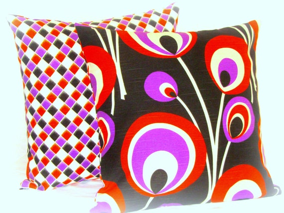 floral retro throw pillow cover 20x20 colorful pillow by sabdeco. Black Bedroom Furniture Sets. Home Design Ideas