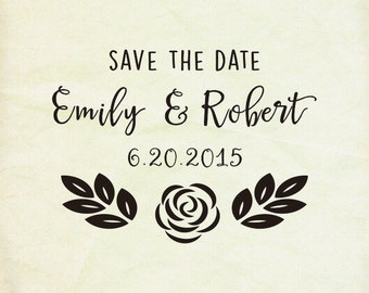 Custom wedding stamp ,- custom Rustic rose  Save The Date Stamp- Retro Wedding Stamp -calligraphy- custom Rubber Stamp-custom stamps
