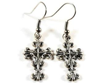 Silver Cross Earrings, Cross Charm Earrings, Catholic Jewelry, Christian Earrings, Religious Earrings, Teen and Women's Jewelry, Gift Idea