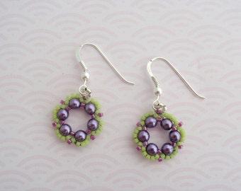 Purple Spring Flower Earrings, Purple Pearl Earrings, Purple and Green Pearl Earrings, Sterling Earrings, Pearl Earrings