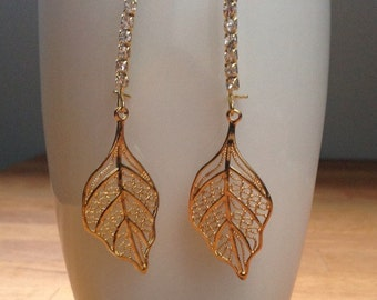 Crystal Gold filigree leaf earrings