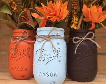 Set of 3 Hand Painted Mason Jars, Autumn, Home Decor, Fall Decor, Thanksgiving, Centerpiece, Fall Wedding, Farmhouse, Fall, Shabby Chic