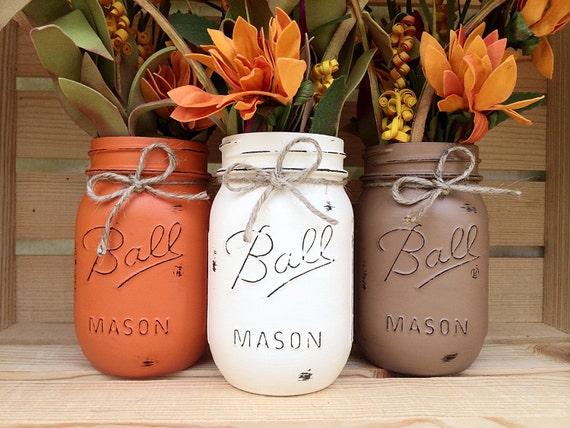 Set of hand painted mason jars autumn home decor fall