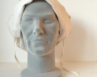 Replica WW1 cream linen women factory worker's Bonnet/ hat