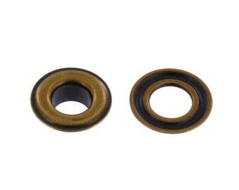 "Grommet, 1/4"" Eyelet (#0), Antique Brass, Solid Brass-LL (100 per bag)"