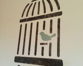 BIRD IN BIRDCAGE A3 Wall Stencil