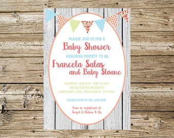 Shabby baby shower invitation for Fran